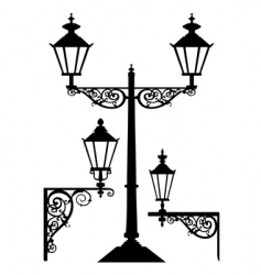 retro streetlight set vector image