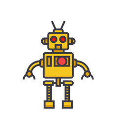 robot cool flat line concept vector image vector image