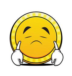 sad face coin cartoon character vector image