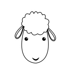 Sheep manger christmas character line vector