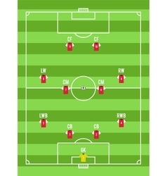 Soccer or football pitch top view with the vector