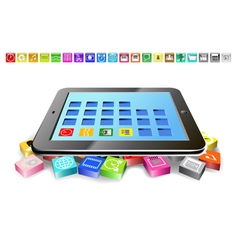 Tablet and icons vector image vector image