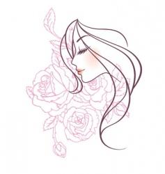 women profile rose vector image vector image