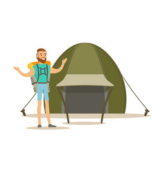 young bearded man traveler with a backpack vector image vector image