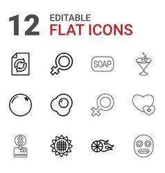 12 orange icons vector