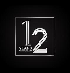 12 years anniversary logotype with cross hatch vector