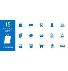 15 shopping icons vector