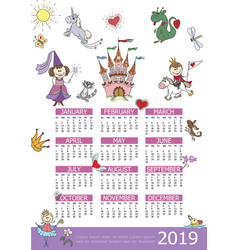 2019 year calendar fairytale kids template vector