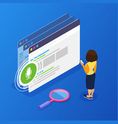 3d isometric voice search concept using the phone vector image