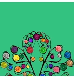 Abstract tree with patterned colored fruits vector image vector image