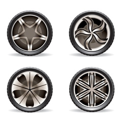 Aluminum rims set vector