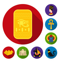 ancient egypt flat icons in set collection for vector image