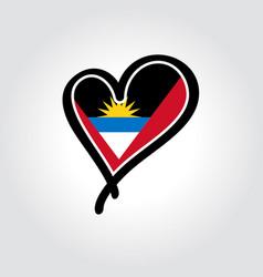 Antigua and barbuda flag heart-shaped hand drawn vector