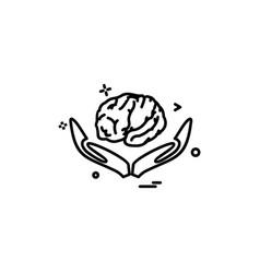 Artificial brain hands intelligence icon design vector