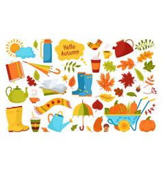 Autumn hand drawn trendy cartoon rustic set vector