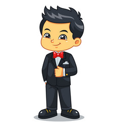 Boy wearing black tuxedo and red bowtie vector