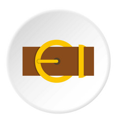 Brown belt with a gold round buckle icon circle vector