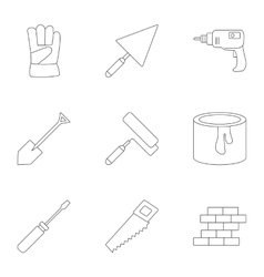 Building tools icons set outline style vector image