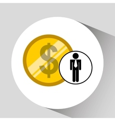 Business man pile money icon vector