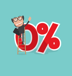 businessman reach a zero percent interest symbol vector image