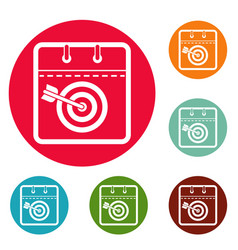 calendar target icons circle set vector image