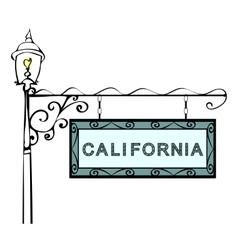 California retro pointer lamppost vector image