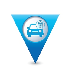 car wash icon map pointer blue vector image