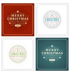 Christmas Typography Greeting Cards Design Set vector image