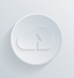 Circle flat icon with a shadow cloud download vector