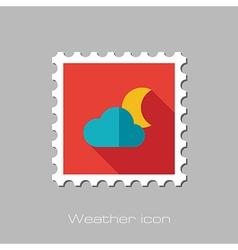 Cloud Moon flat stamp Meteorology Weather vector