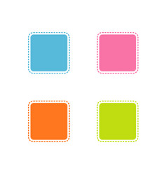 collection of colorful stitched square shape vector image