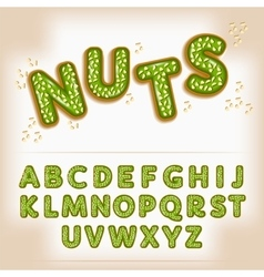 Comic cartoon candy with nuts style alphabet vector image
