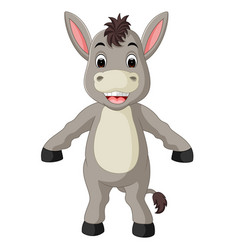 Cute donkey cartoon waving hand vector