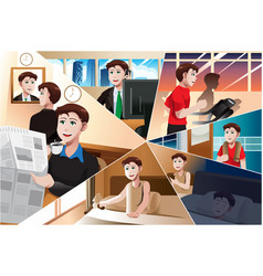 Day in life a modern man vector