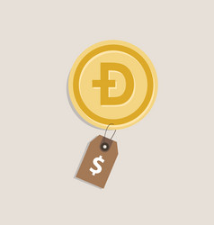 doge coin price value money gold currency finance vector image