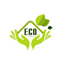 Eco logo healthy premium quality label with green vector