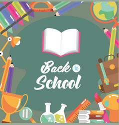 Education book with backpack and pencils colors vector
