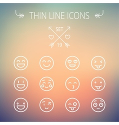 Emoji thin line icon set vector