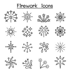 firework firecracker icon set in thin line style vector image