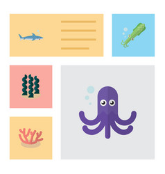 flat icon sea set of shark tentacle alga and vector image