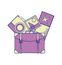 full color backpack with camera and picture to vector image