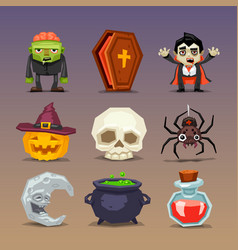 Funny halloween icons-set 3 vector