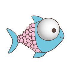Happy fish cartoon icon vector