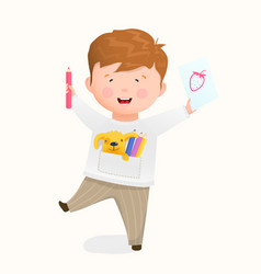 Happy kid studying to draw on paper with pencils vector