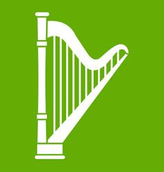 Harp icon green vector