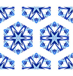 Kaleidoscope white blue flower background vector