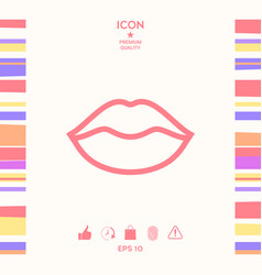 Lips linel icon vector