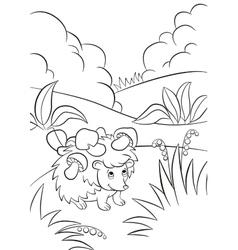 Little cute kind hedgehog has the mushrooms on the vector