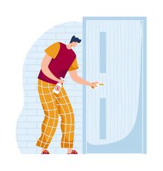Male character wipes alcohol door handle man vector
