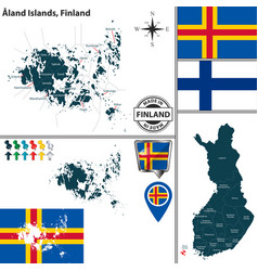 map of aland islands finland vector image